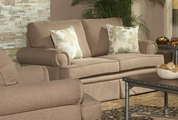 Genevieve Sandy Brown Fabric Loveseat