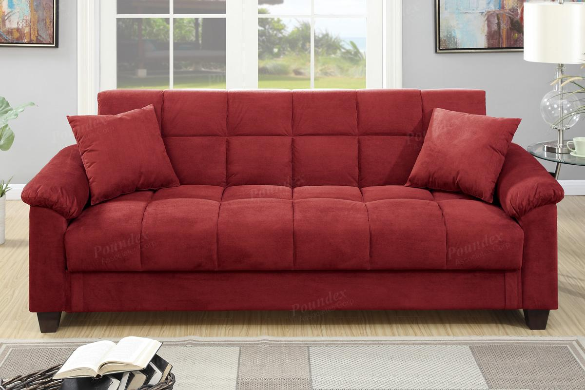 Poundex Gertrude F7890 Red Fabric Sofa Bed Steal A Sofa