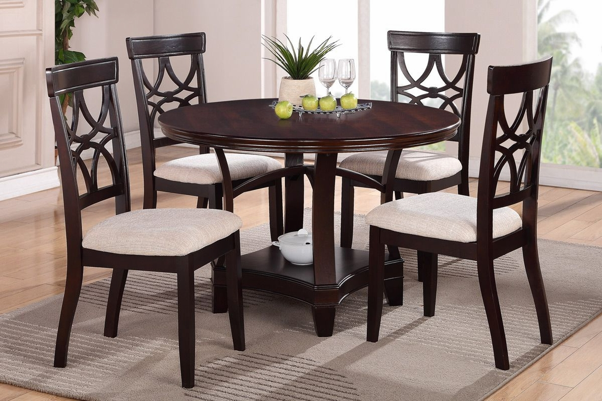 Poundex Gracie F1221 F2195 Brown Wood Dining Table Set In