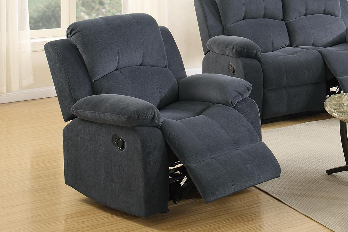 Poundex F6783 Grey Fabric Rocker Recliner Chair Steal A