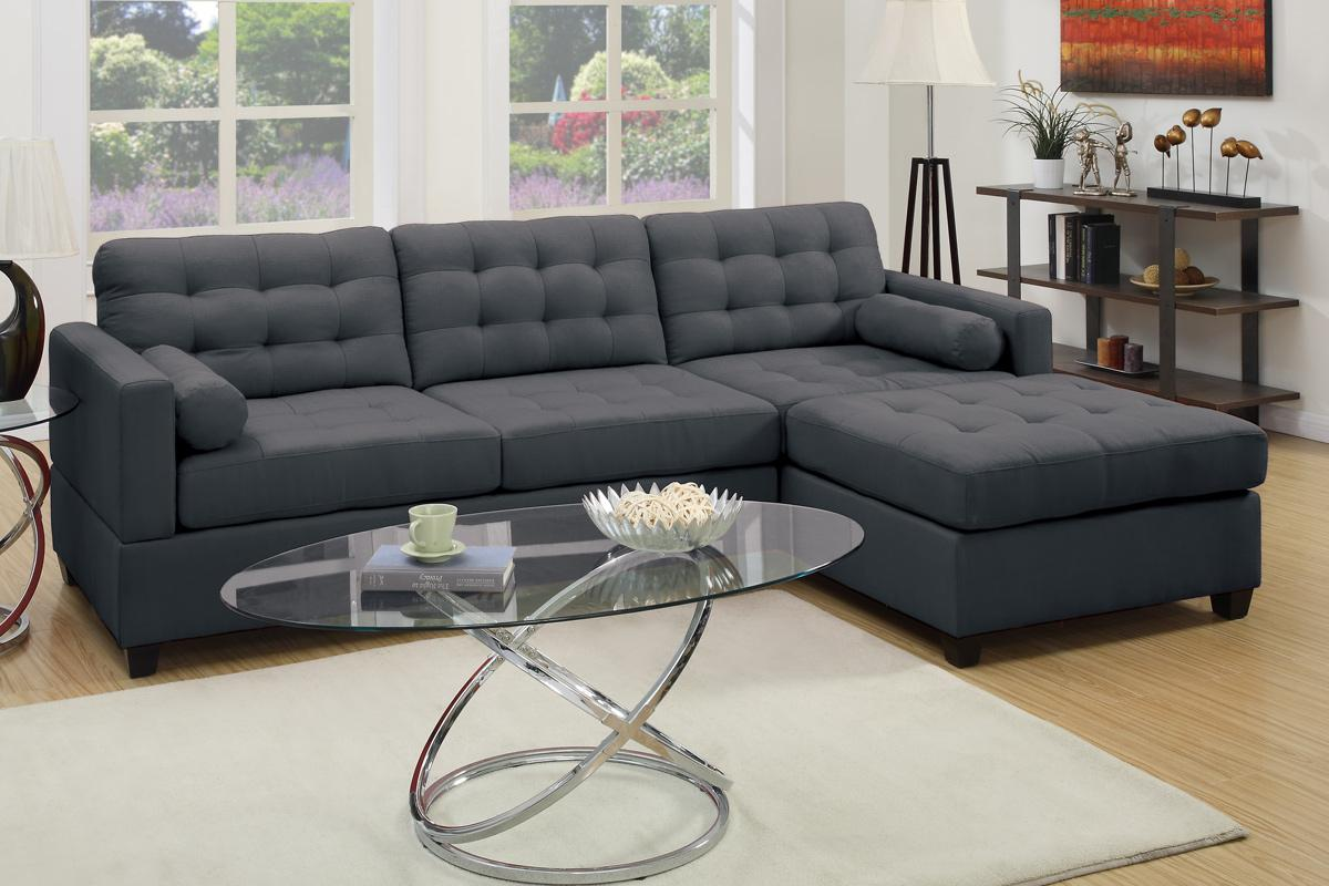 Poundex F7587 Grey Fabric Sectional Sofa Steal A Sofa