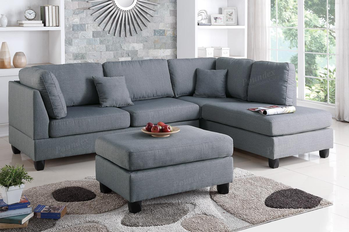 Poundex Courtney F7606 Grey Fabric Sectional Sofa And