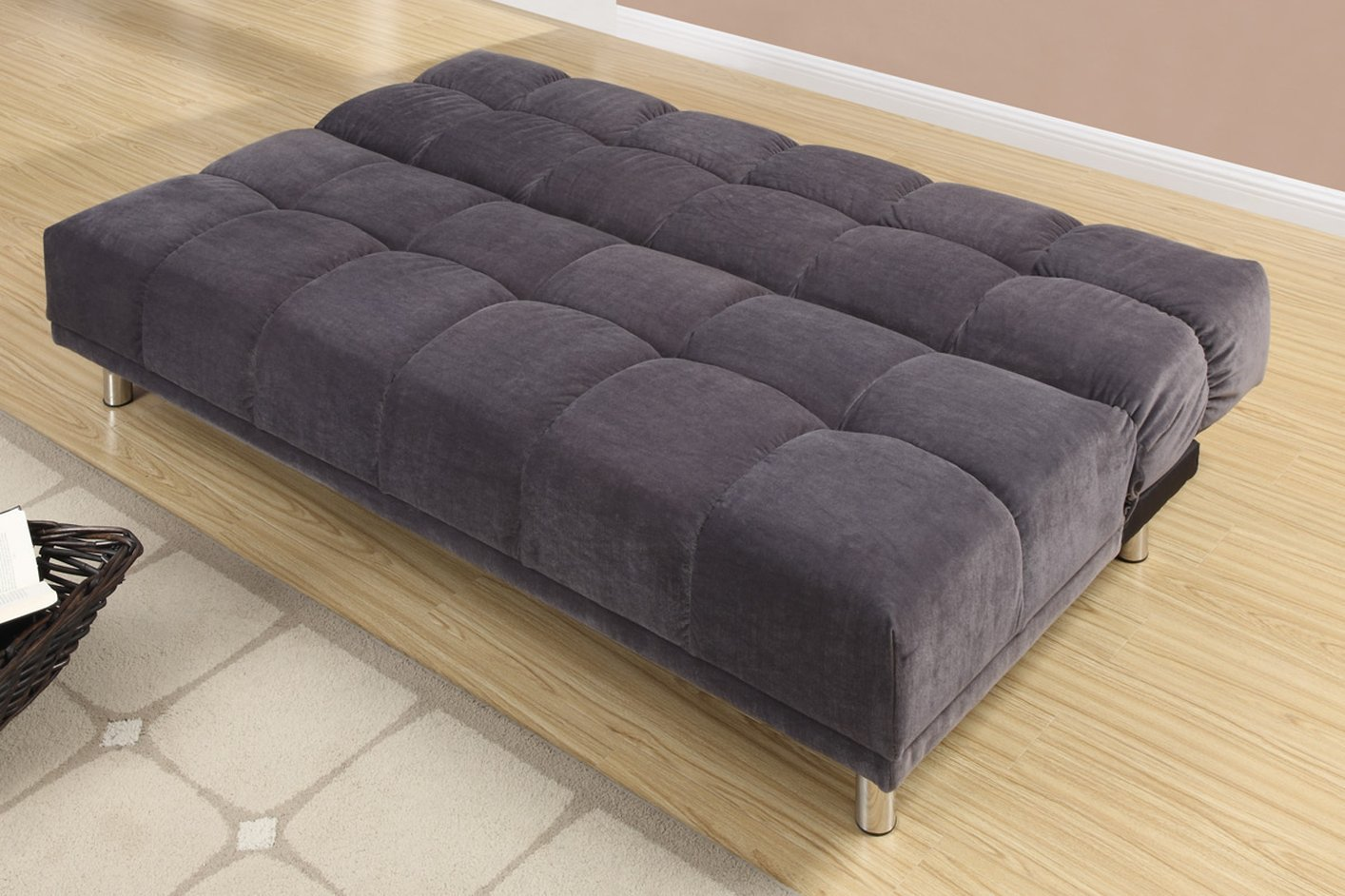 Poundex F7010 Grey Twin Size Fabric Sofa Bed Steal A