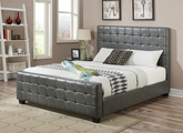 Grey Leather Eastern King Size Bed