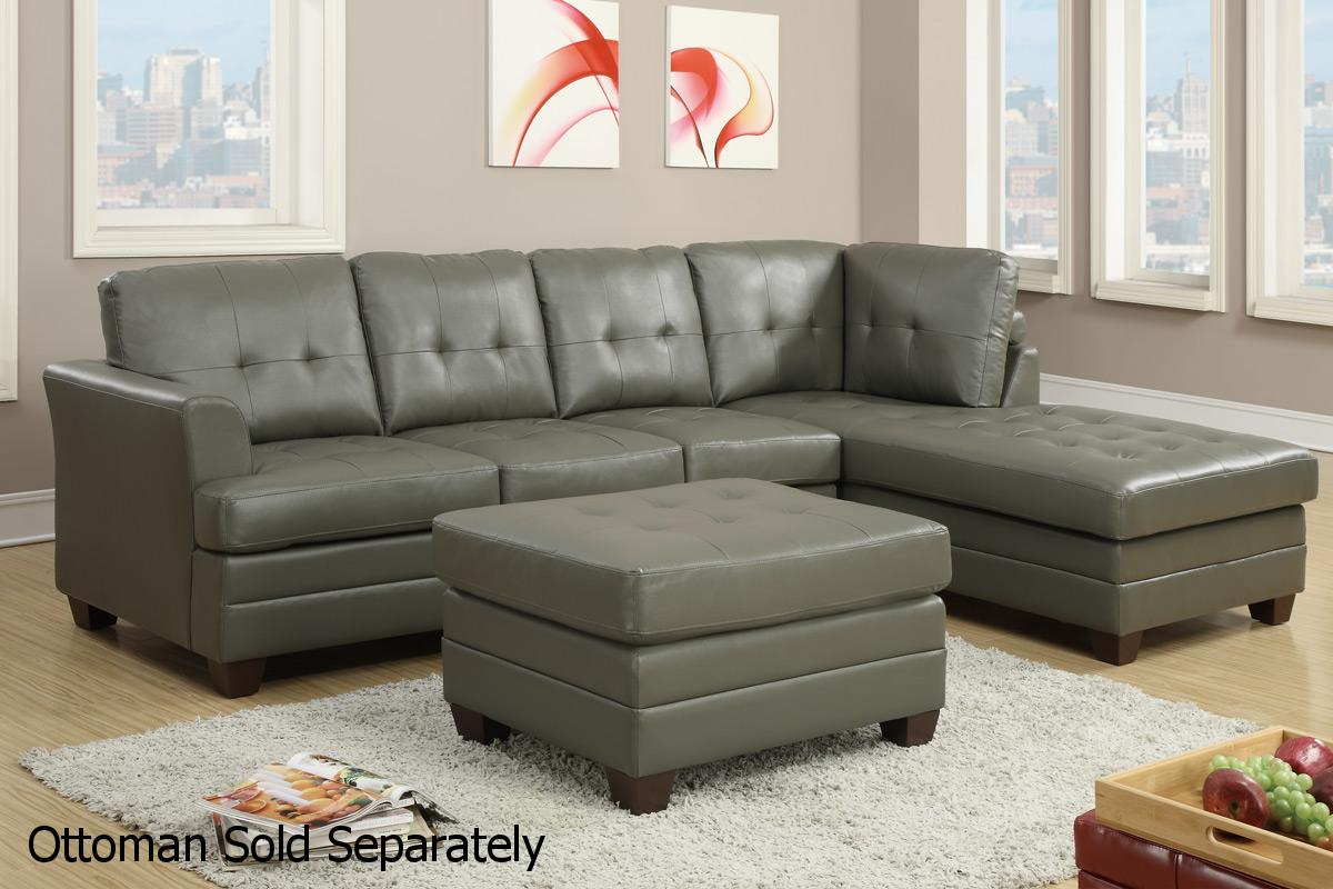 Poundex F7777 Grey Leather Sectional Sofa Steal A Sofa  : grey leather sectional sofa 123 from www.stealasofa.com size 1200 x 800 jpeg 109kB