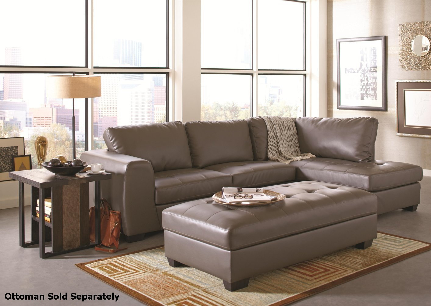Coaster 500805 Grey Leather Sectional Sofa - Steal-A-Sofa ...