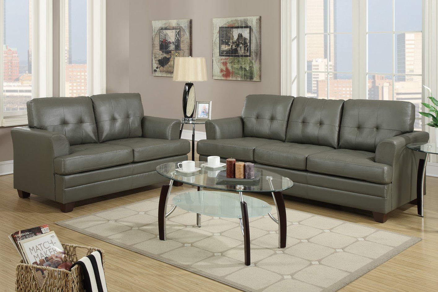 f7774 grey leather sofa and loveseat set steal a sofa furniture