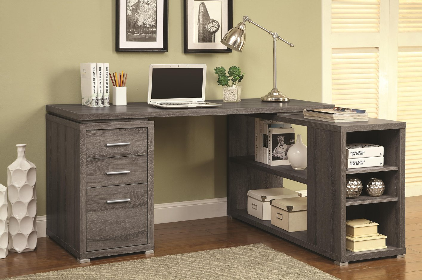 coaster 800518 grey wood office desk steal a sofa