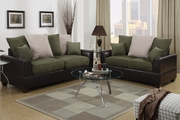 Harlow Espresso And Green Microfiber Sofa And Loveseat Set