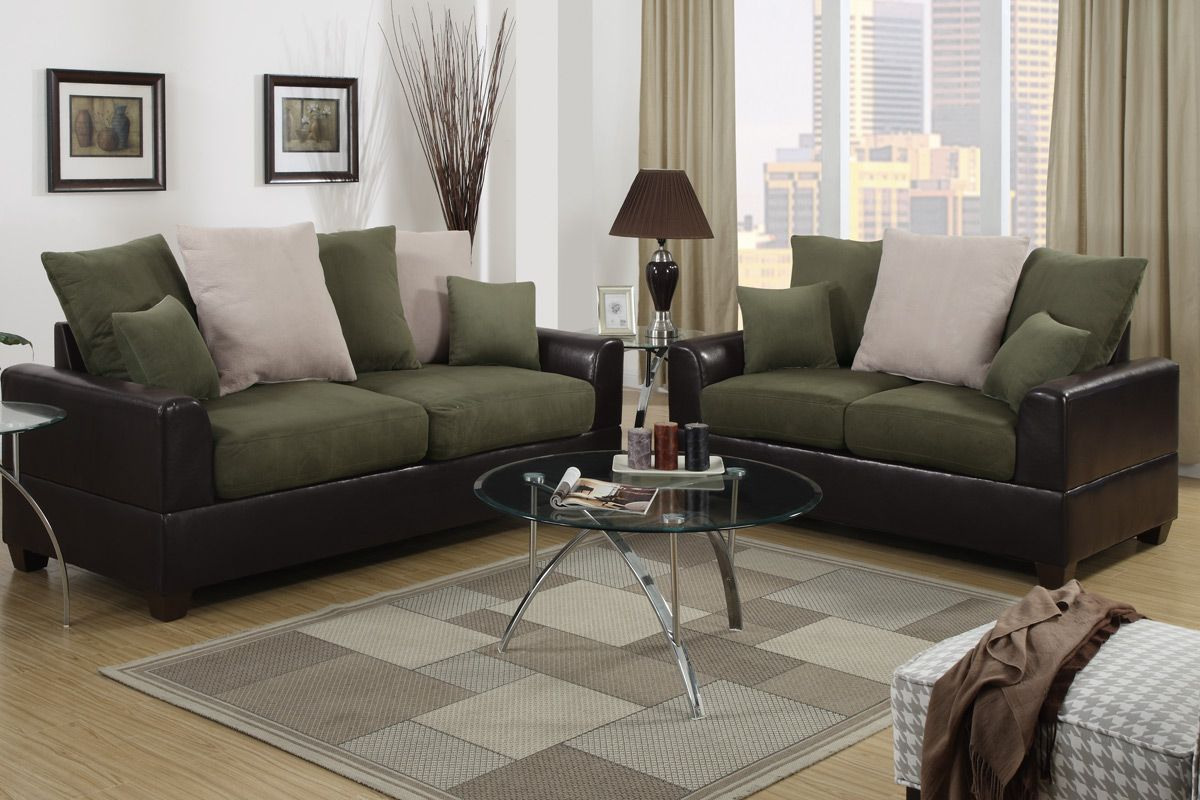 Kitchen cabinets assembled - Poundex Harlow F7568 Brown And Green Microfiber Sofa And