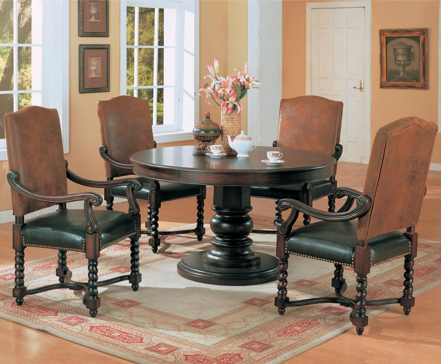 Coaster Harrelson 180030 180032 Brown Wood Dining Table Set In Los Angeles Ca