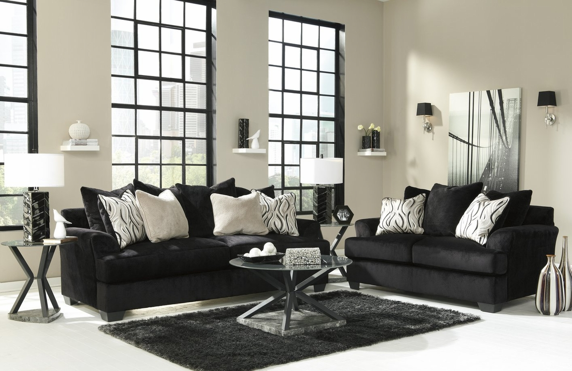 Ashley Heflin 4720038 4720035 Black Fabric Sofa and Loveseat Set