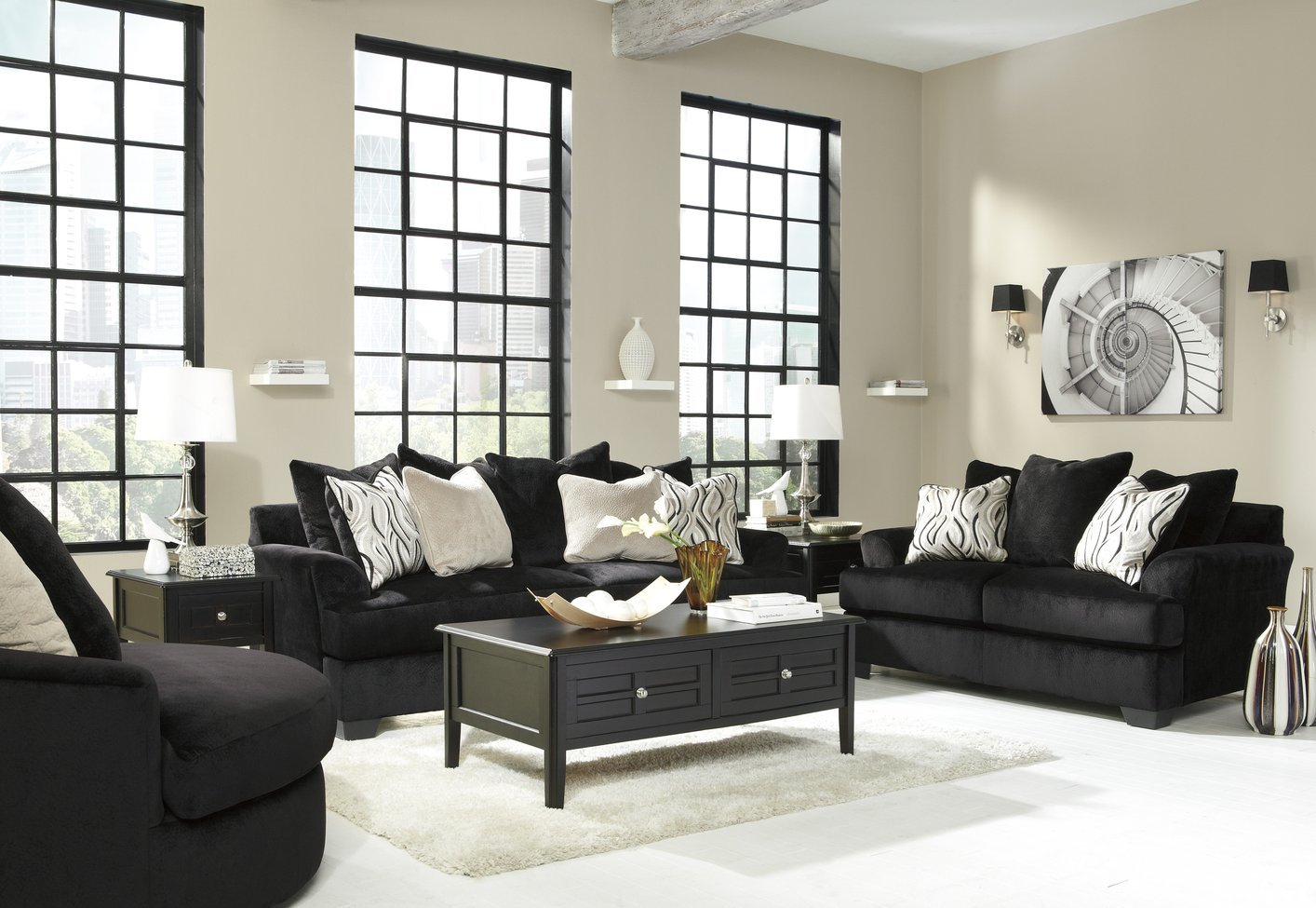 Ashley Heflin 4720038 4720035 Black Fabric Sofa And