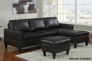 Piccio Black Leather Sectional Sofa and Ottoman