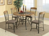 Hilda Brown Metal And Wood Dining Table Set