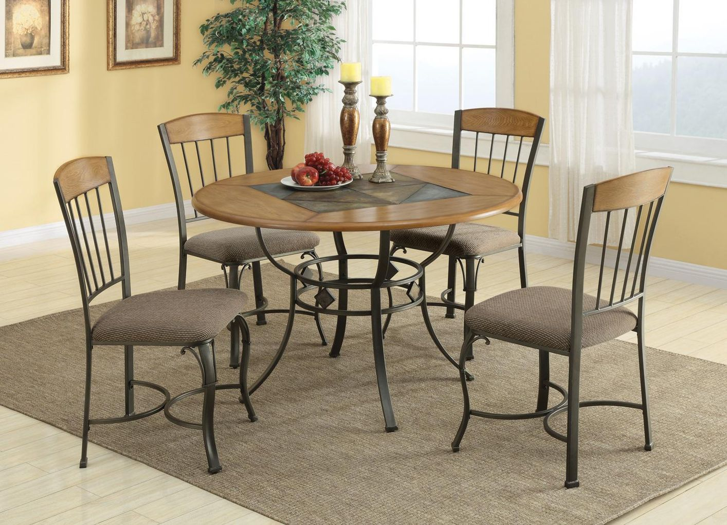 120771 120772 Brown Metal And Wood Dining Table Set In Los Angeles Ca