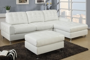Idella Cream Bonded Leather Sectional Sofa
