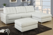 Randi White Leather Sectional Sofa