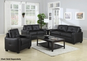 Jasmine Black Leather Sofa and Loveseat Set