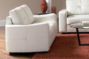 Jasmine White Leather Loveseat