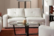 Jasmine White Leather Sofa
