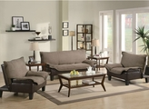 Jean Brown Microfiber Sofa And Loveseat Set