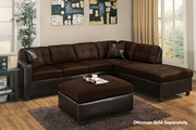 Jed Chocolate Fabric Sectional Sofa (Ottoman Not Included)