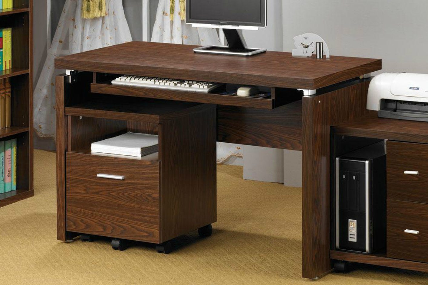 Coaster 800831 Brown Wood Computer Desk Steal A Sofa