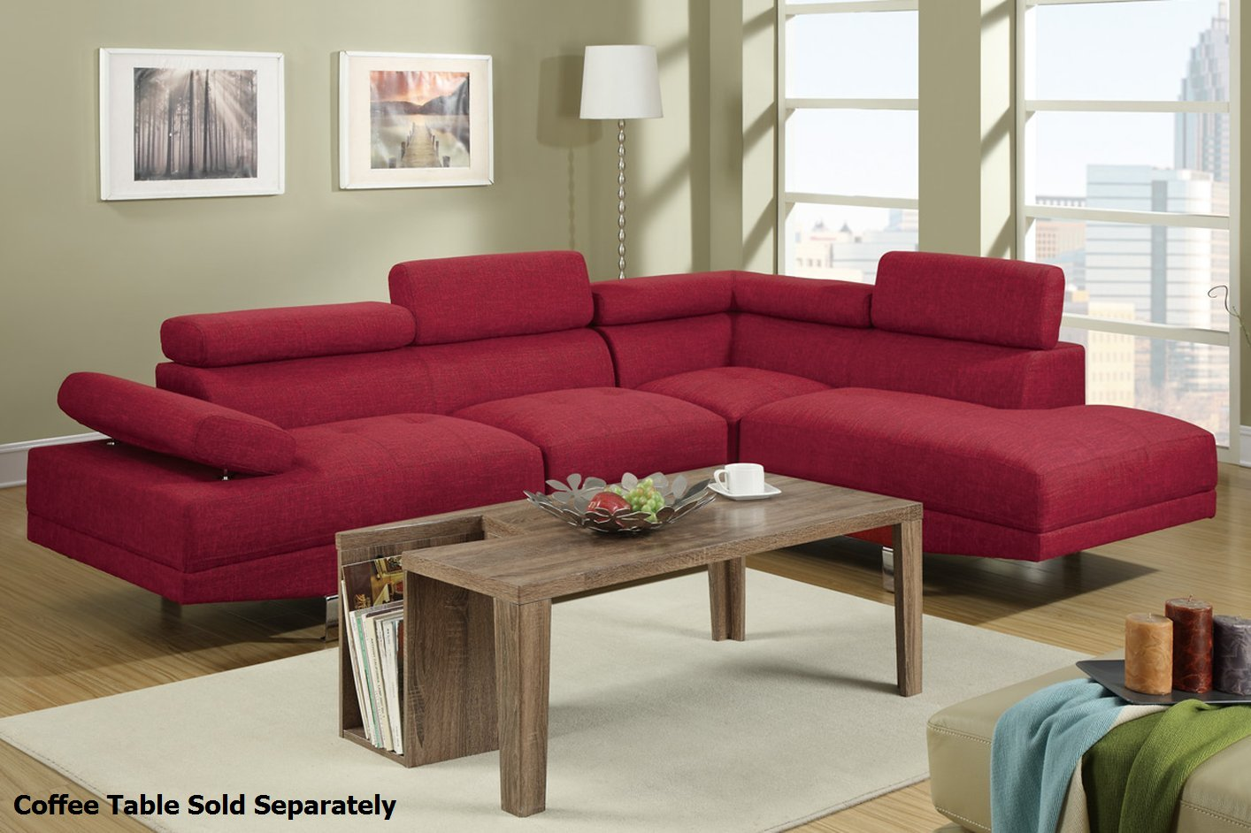 Poundex Jezebel F7550 Red Fabric Sectional Sofa Steal A