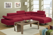 Jezebel Carmine Fabric Sectional Sofa