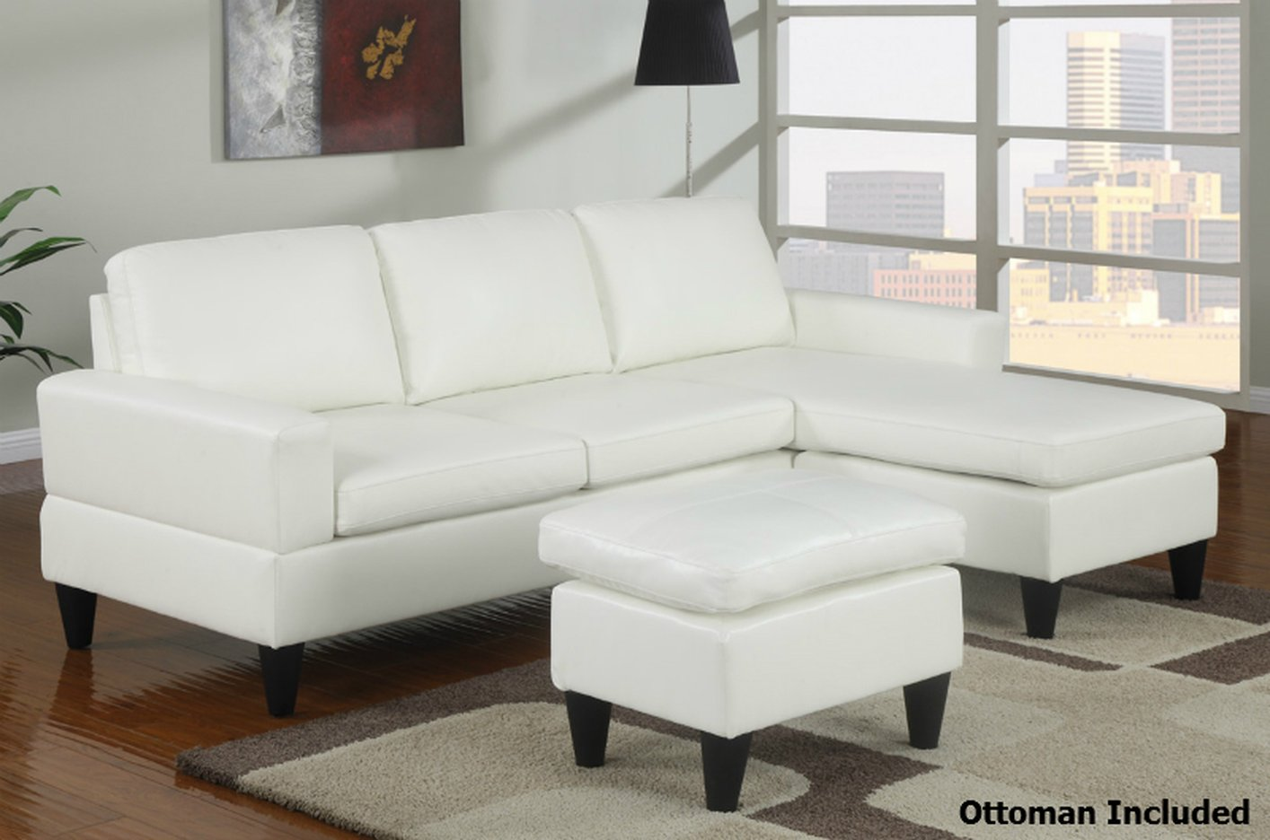 Poundex Piccio F7298 White Leather Sectional Sofa And