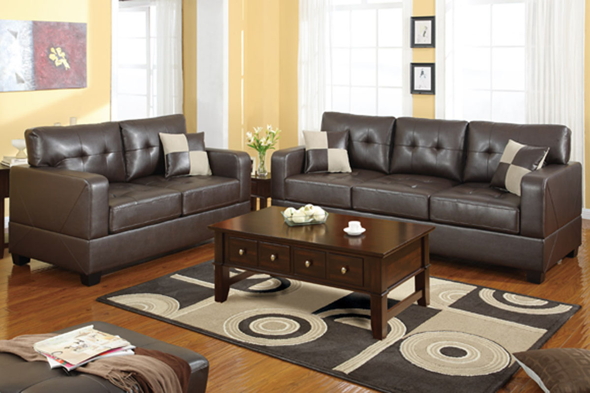 Living Room Furniture Los Angeles Poundex Chase F7341 Brown Leather Sofa And Loveseat Set Steal A