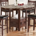 Jovan Rich Brown Wood And Marble Pub Table