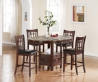 Jovan Rich Brown Wood And Marble Pub Table Set
