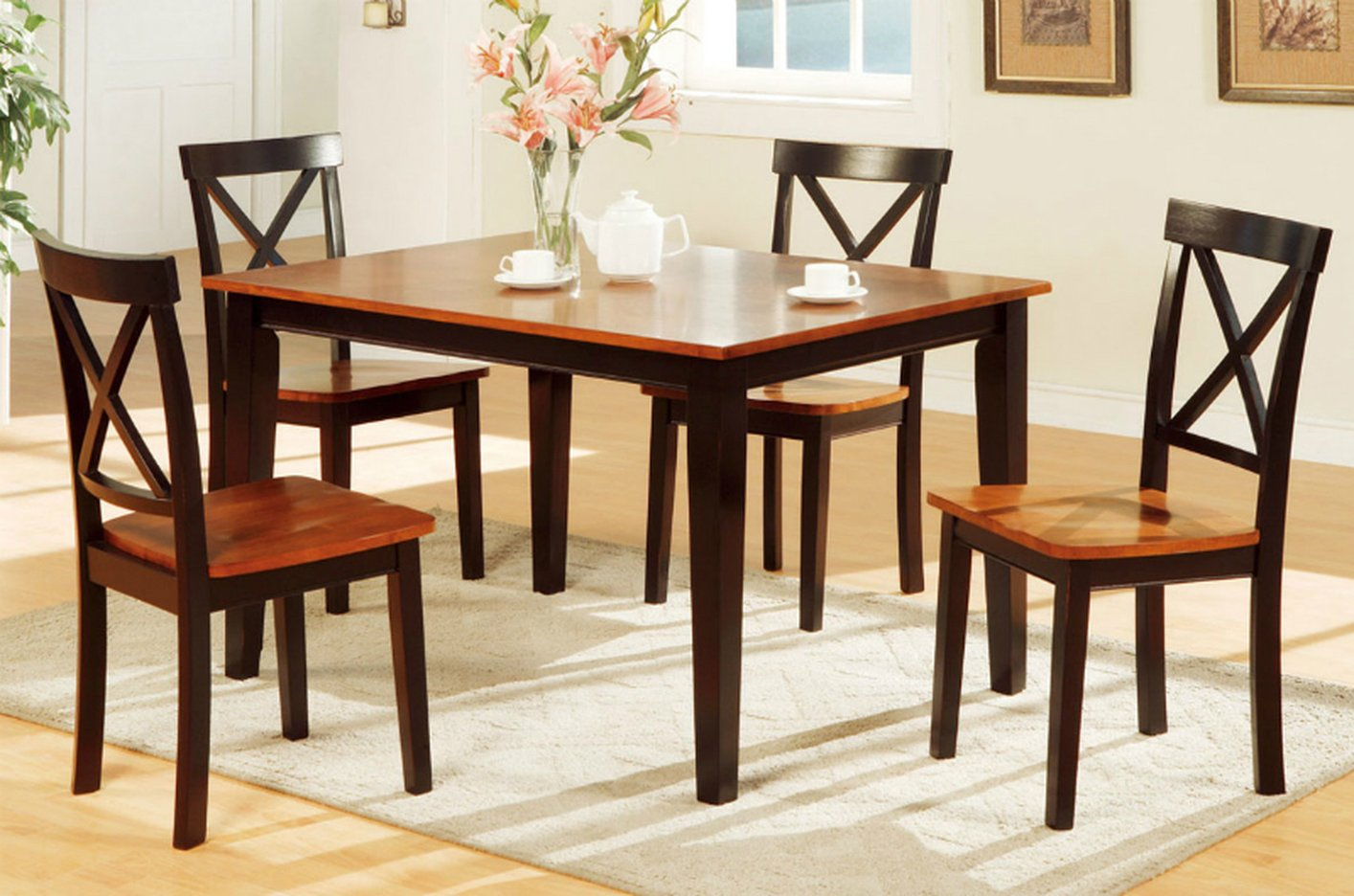 Amazing photo of Poundex F2250 Brown Wood Dining Table and Chair Set Steal A Sofa  with #B44817 color and 1414x936 pixels
