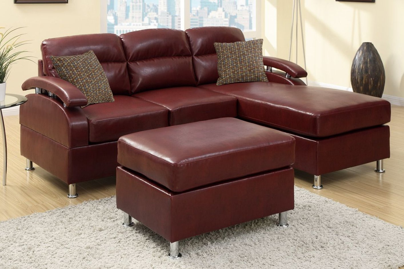 Poundex Kade F7686 Red Leather Sectional Sofa And Ottoman
