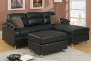 Kade Ebony Bonded Leather Sectional Sofa With Ottoman