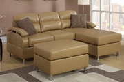 Kael Tan Bonded Leather Sectional Sofa With Ottoman