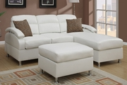 Kagan Cream Bonded Leather Sectional Sofa With Ottoman