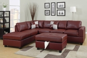 April Burgundy Leather Sectional Sofa and Ottoman