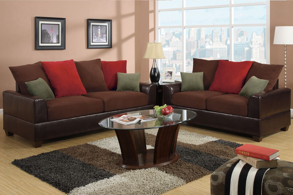 Poundex Kalei F7565 Red Leather Sofa And Loveseat Set
