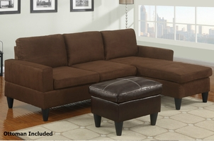 Piccio Brown Fabric Sectional Sofa and Ottoman