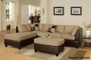 Katja Brown Fabric Sectional Sofa and Ottoman