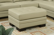 Beige Leather Ottoman