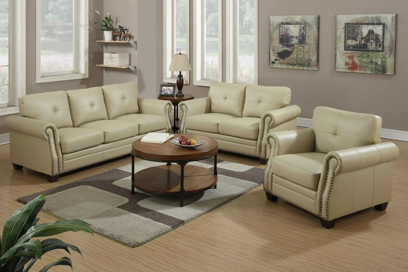 Poundex F7784 Beige Leather Sofa And Loveseat Set Steal