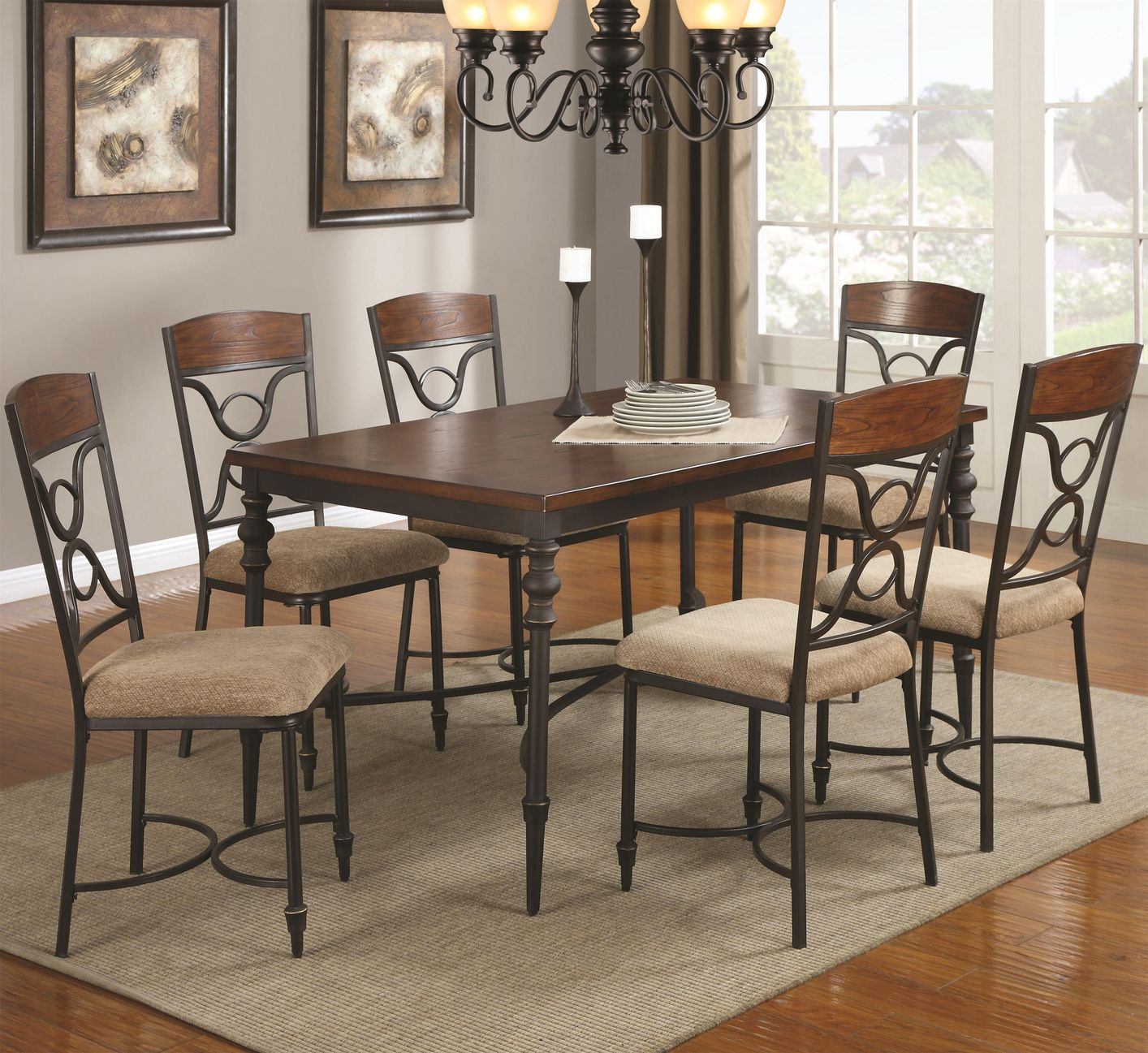 ... 120851 120852 Brown Metal And Wood Dining Table Set In Los Angeles Ca