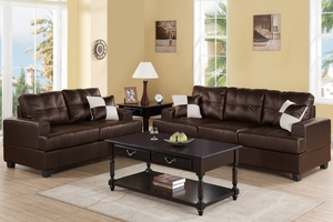 Kyler Espresso Leather Sofa and Loveseat Set