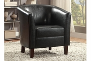 Landus Black Leather Accent Chair