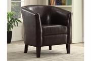 Landus Brown Leather Accent Chair