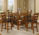 Lavista Dark Oak Wood Counter Height Dining Set